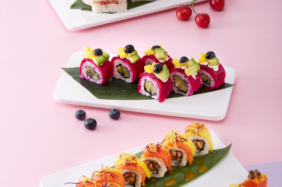 dessert sushi in a colorful seasonal arrangement for a wedding